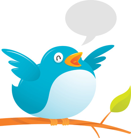 illustration of Fat Twitter Bird on tree Stock Vector - 4841113
