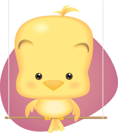 Illustration cartoon of Cute Yellow Baby Bird Vector