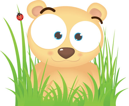 Cartoon illustration of Cute Bear sitting On the Grass Vector
