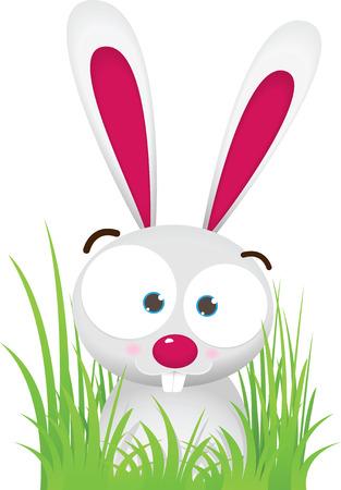 Illustration Cartoon of Rabbit with big Eye sit on the Grass