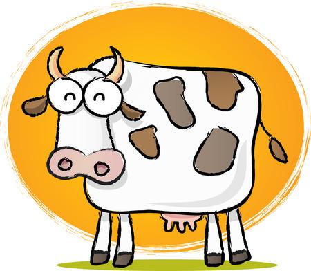 Sketch style cartoon illustration of Cow with Orange background Illustration