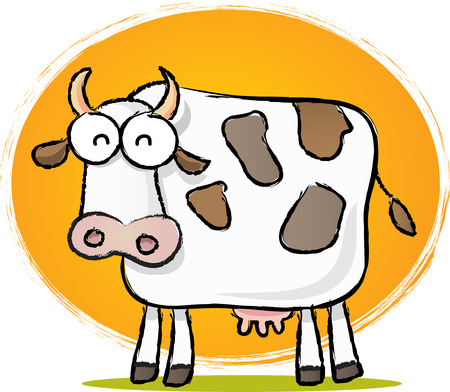Sketch style cartoon illustration of Cow with Orange background Vector