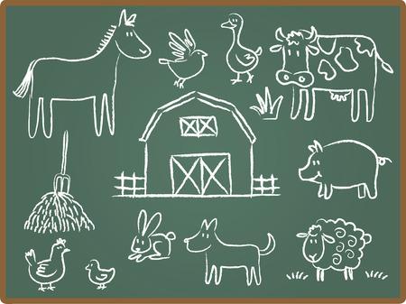 Cartoon Illustration of farm animal on Chalkboard Vector