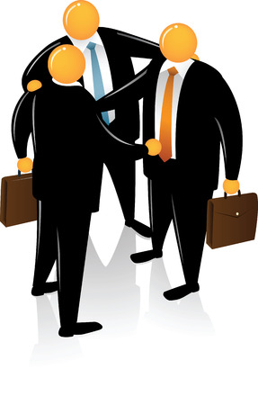 Three Orange Head wearing black suit talking each other