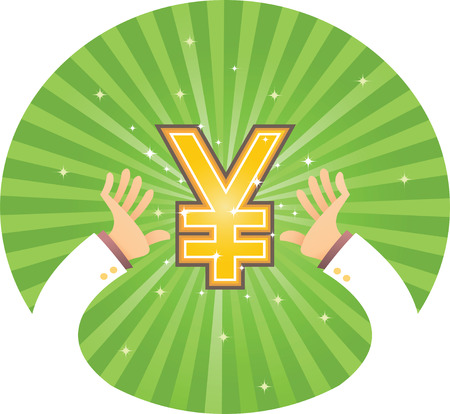 Illustration of two hand reaching for Yen Illustration