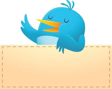 Illustration of Blue Bird with blank banner Illustration