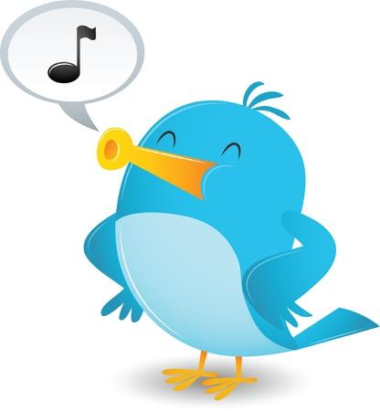Cartoon Blue Bird Sing