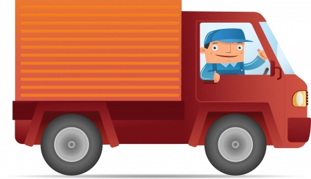 Illustration of Delivery service with car Stock Vector - 10415681