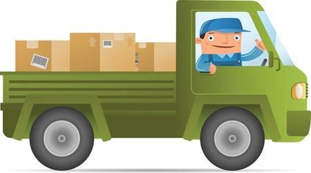 verhuis dozen: Illustratie van Bezorgservice met auto