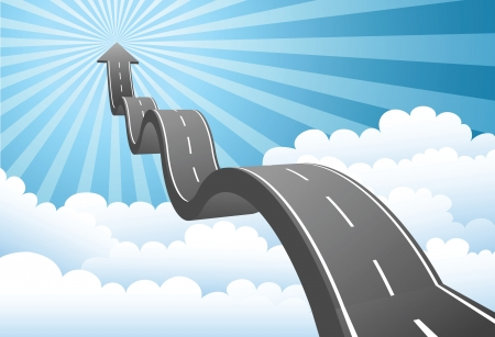 road to success: Illustration of arrow road to the sky through the cloud