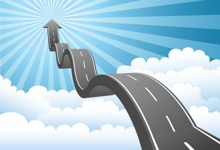 Illustrazione della strada freccia verso il cielo attraverso la nube