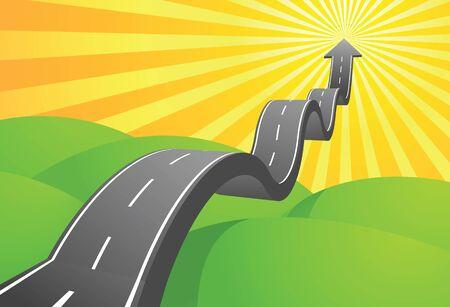 green street: Ilustraci�n de flecha carretera ir al cielo Vectores