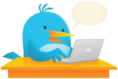 using laptop: Illustrazione di Blue Bird utilizzando computer portatile sulla scrivania
