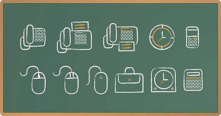 Illustration of Office icon set drawing on chalkboard