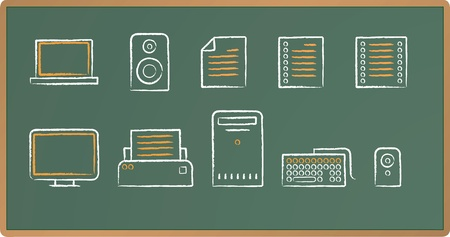 printer drawing: Illustration of Office icon set drawing on chalkboard.