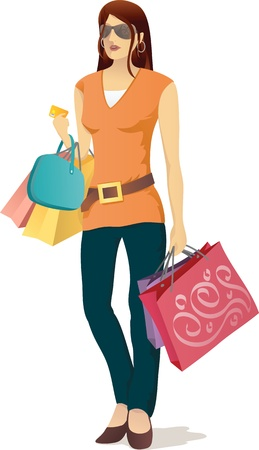 mall: Illustration of shopping girl with credit card on her hand