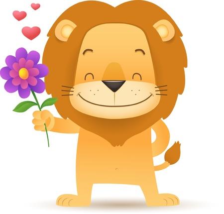 Illustration of Lino the Lion Holding a Flower Stock Illustratie