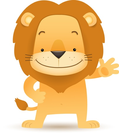 Illustration of Lino the Lion standing and waving handFiles  - EPS 10- JPGThis illustration contains a transparency to make the shadow