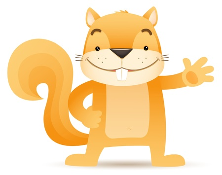 Illustration of Sque the Squirrel waving hand
