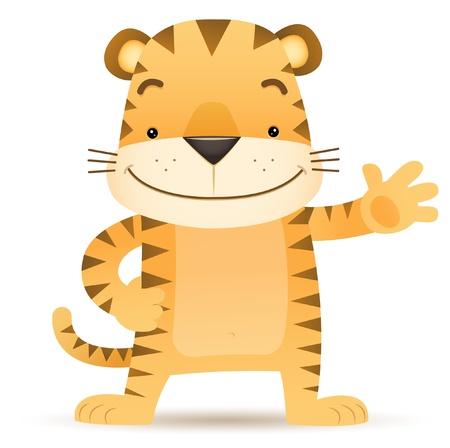 Illustration of Tigo the Tiger waving hand Stock Illustratie