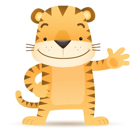 Illustration of Tigo the Tiger waving hand Illustration