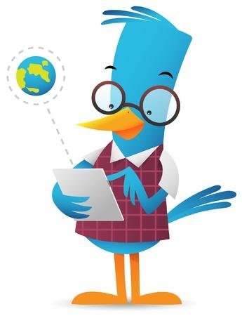 Cartoon Blue Bird browsing using tablet