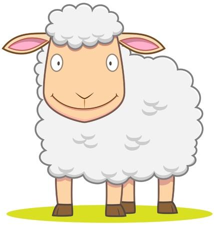 and sheep: Ilustración de ovejas sonriente en el estilo de dibujos animados
