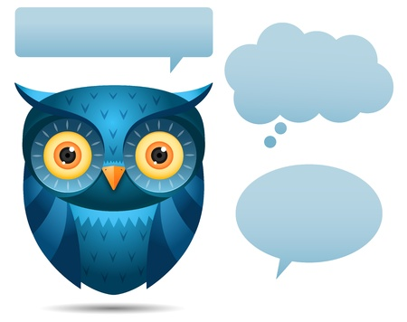 owls: Illustration of Blue Owl and talk bubble