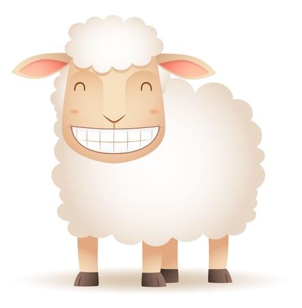 and sheep: Ilustración de oveja sonriendo Vectores