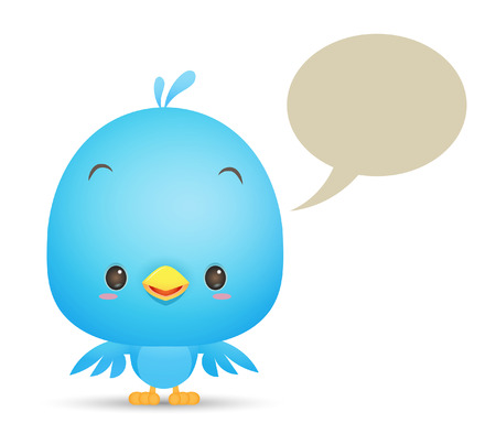 Illustration of cute Blue Bird with blank bubble talk icon
