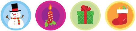 Illustration of 4 Flat Christmas Icons vol 1 Stock Illustratie