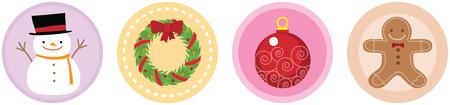 Illustration of 4 Flat Christmas Icons vol 3