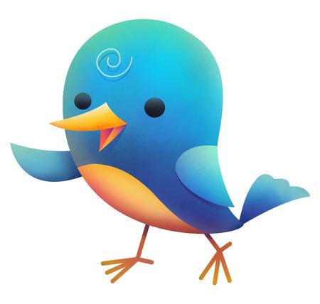 Illustration of blue bird walking