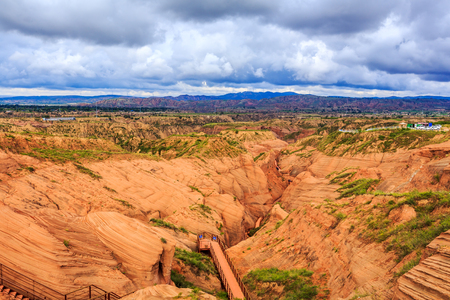 The Danxia wave valley under the blue sky