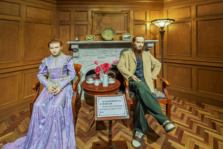 Wax sculptures of Duncan Clark (the manager of King Hotel) and his wife Anne