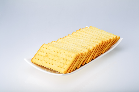 Soda crackers on white background