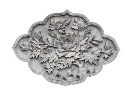 Chinese style gray brick flower pattern relief