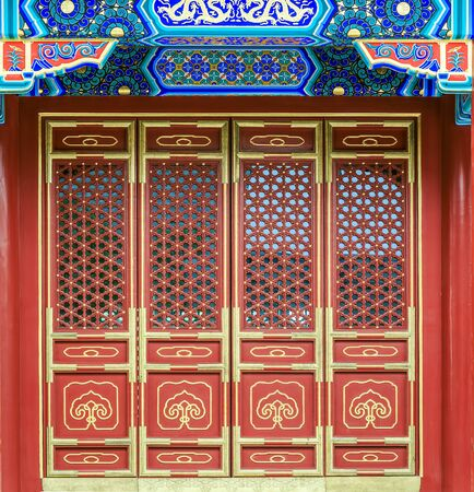 Chinese style building traditional solid wood doors and windows 写真素材