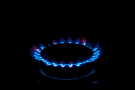 A gas burner with blue burning gas looks like flower 写真素材