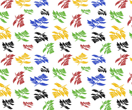 A seamless pattern horizontal plant texture of black, green, red, yellow, blue color carved leaves on a white background is in the illustration 写真素材