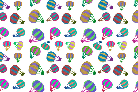 Seamless pattern texture of different size multi-colored hot air balloons isolated on white transparent background in high resolution