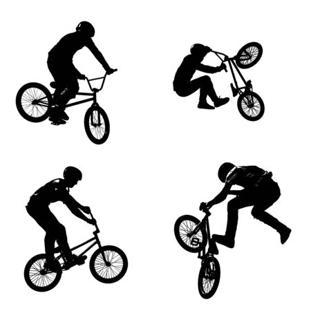 A seamless pattern of black silhouettes of sportsmen with a bike in four different poses isolated on white transparent background in high resolution 版權商用圖片