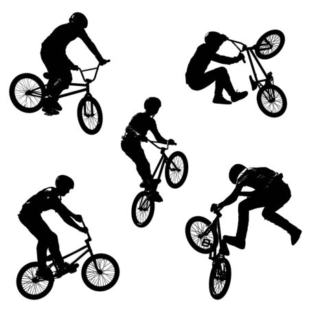 A seamless pattern of black silhouettes of sportsmen with a bike in five different poses isolated on white transparent background in high resolution 版權商用圖片
