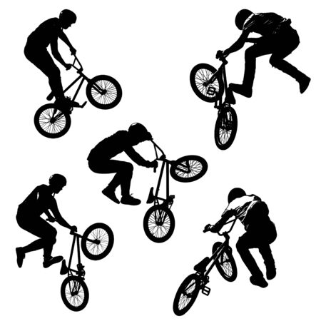 A seamless pattern of black silhouettes of sportsmen with a bike in five different poses isolated on white transparent background in high resolution. Extreme sport