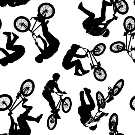 A seamless pattern of black silhouettes of sportsmen with a bike in seven different poses isolated on white transparent background in high resolution. Extreme sport set 版權商用圖片