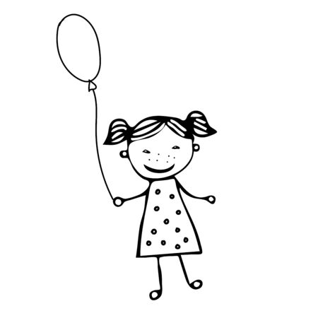 A beautiful hand-drawn vector illustration of a girl with a ballon isolated on a white background for coloring book