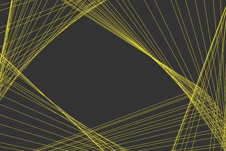 A beautiful horizontal abstract vector texture of yellow lines and grid on a gray background