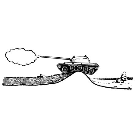 A black hand-drawn Vector illustration of a panzer shoots with smoke isolated on a white background