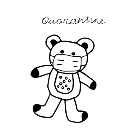A beautiful hand-drawn vector illustration of one toy bear in a medical mask isolated on a white background with lettering Quarantine for coloring book