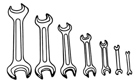 A Hand-draw black vector illustration of metallic locksmith wrenches tool set isolated on a white background Vectores